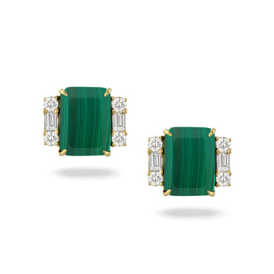 Doves 18K Yellow Gold Malachite Post Earrings - Jackson Hole Jewelry Company