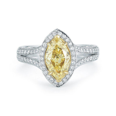 Fancy Yellow Marquise Pave Halo Diamond Ring - Jackson Hole Jewelry Company