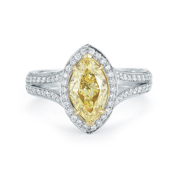 Fancy Yellow Marquise Pave Halo Diamond Ring