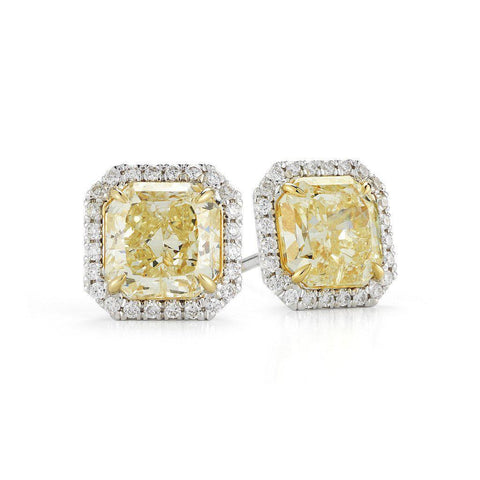 Fancy Yellow Radiant Cut Halo Diamond Stud Earrings - Jackson Hole Jewelry Company
