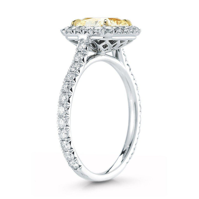 Fancy Yellow Radiant Cut Pave Halo Diamond Ring - Jackson Hole Jewelry Company  - 2