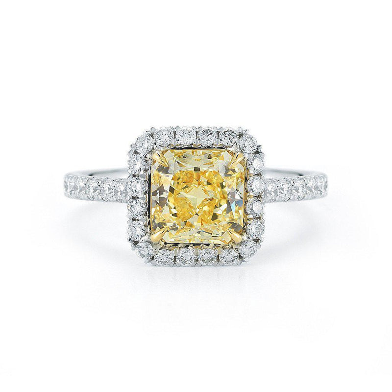 Fancy Yellow Radiant Cut Pave Halo Diamond Ring - Jackson Hole Jewelry Company  - 1