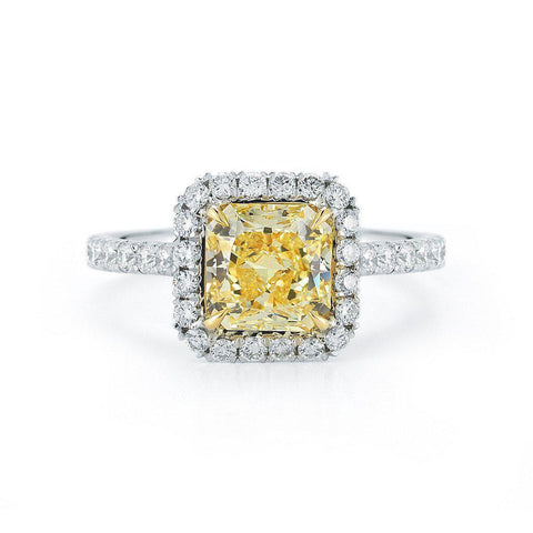 Fancy Yellow Radiant Cut Pave Halo Diamond Ring - Jackson Hole Jewelry Company