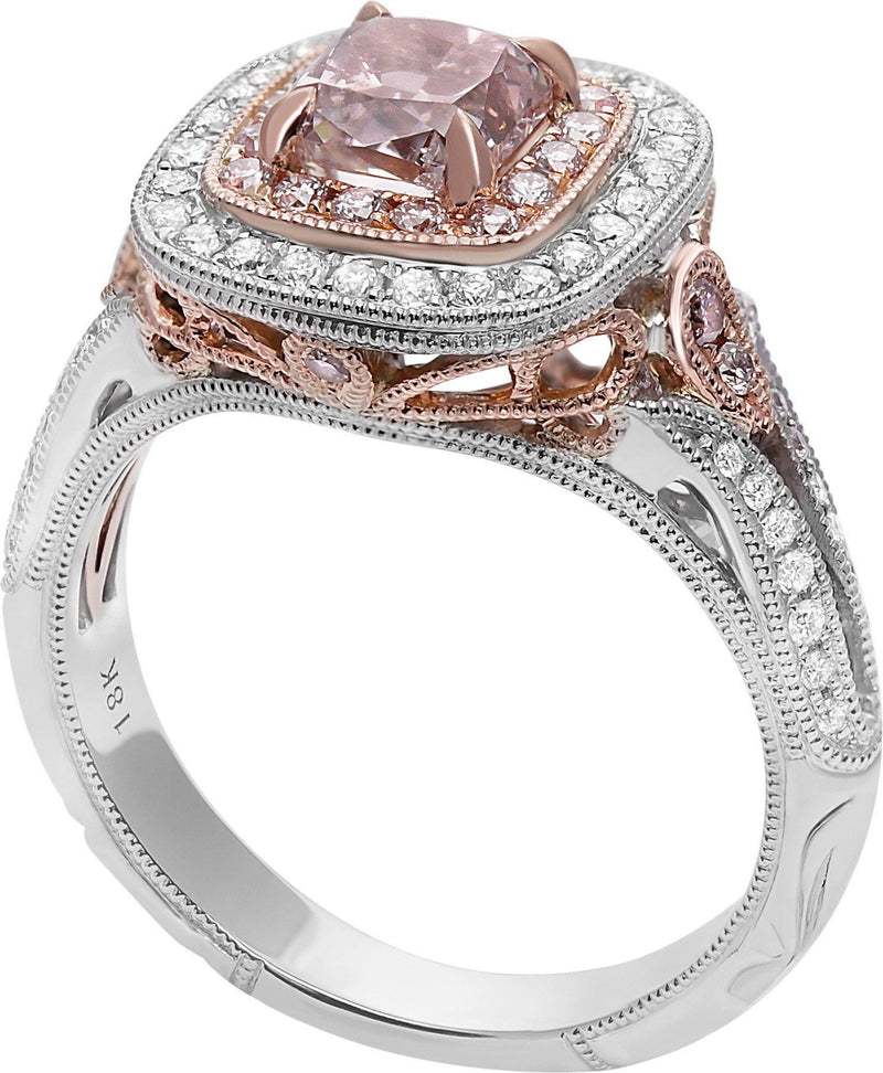 GIA 1 Carat Pink Diamond Center Stone Ring