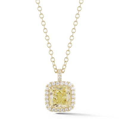 GIA Fancy Light Green Diamond Halo Pendant - Jackson Hole Jewelry Company