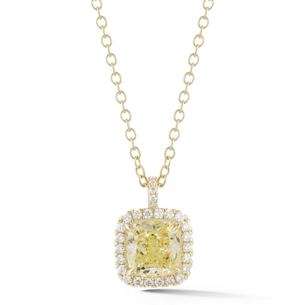 GIA Fancy Light Green Diamond Halo Pendant
