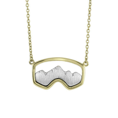 Gold Teton Ski Goggle Necklace - Jackson Hole Jewelry Company