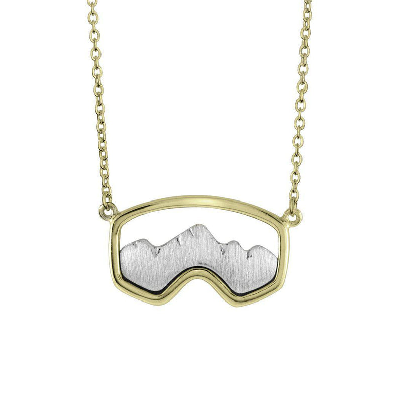 Gold Teton Ski Goggle Necklace
