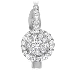 Halo White Diamond Earrings With Latch Back - Jackson Hole Jewelry Company