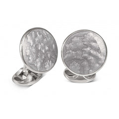 D&F Summer Haze Dome Cufflinks With Silver Enamel in .925 Sterling Silver - Jackson Hole Jewelry Company