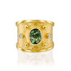 14k Marika Desert Gold Green Tourmaline Ring with Diamonds - Jackson Hole Jewelry Company