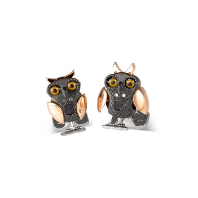 D&F Owl Cufflinks With Rose Gold and Black Rhodium Platting in .925 Sterling Silver - Jackson Hole Jewelry Company
