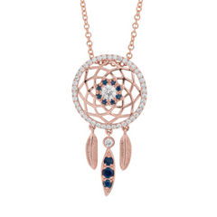 18 Karat Diamond and Sapphire Dreamcatcher Necklace - Jackson Hole Jewelry Company