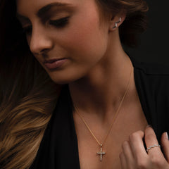 Teton Cross Set in 18K Gold & Diamond Pave Necklace - Jackson Hole Jewelry Company