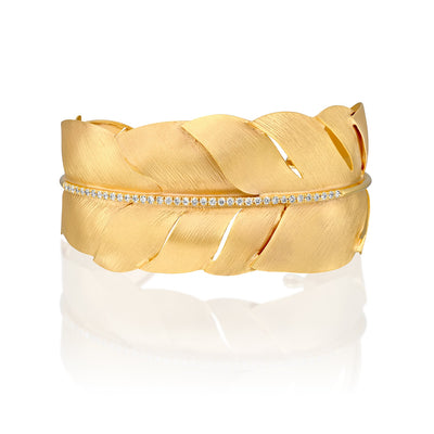 14k Marika Desert Gold Feather Cuff with Diamonds - Jackson Hole Jewelry Company