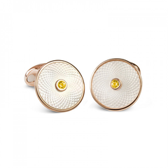 D&F Mother of Pearl Dreamcatcher Cufflinks With Yellow Sapphire in Rose Gold Plated .925 Sterling Silver - Jackson Hole Jewelry Company