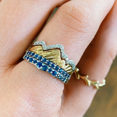 Two Stack Teton Mountain Rings with Sapphire Jenny Lake Bands - Jackson Hole Jewelry Company