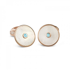D&F Mother of Pearl Dreamcatcher Cufflinks With Aquamarine in Rose Gold Plated .925 Sterling Silver - Jackson Hole Jewelry Company
