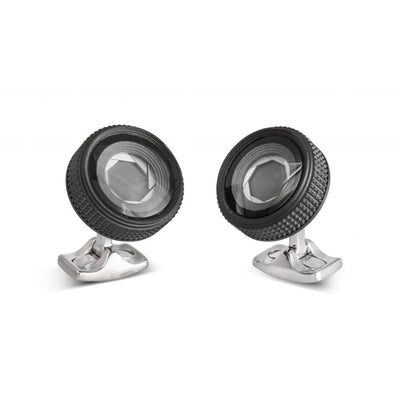 D&F Camera Lens Cufflinks Made From Base Metal - Jackson Hole Jewelry Company