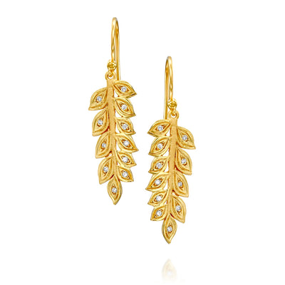 14k Marika Desert Gold Wheat Earrings with Diamonds - Jackson Hole Jewelry Company