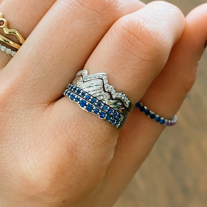 Limited Edition 18 Karat Teton Stacking Rings™ with Sapphire Jenny Lake Bands (4 Ring Set)