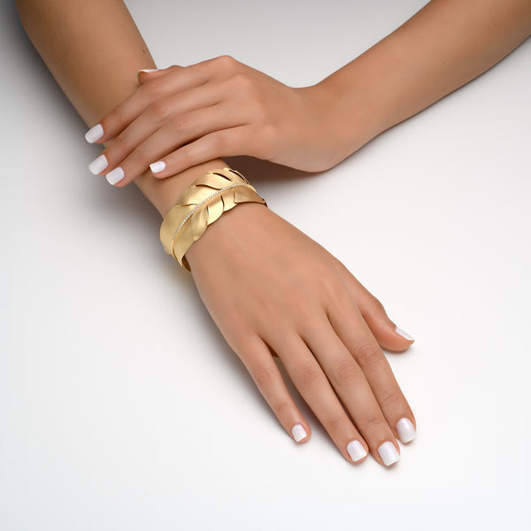 14k Marika Desert Gold Feather Cuff with Diamonds