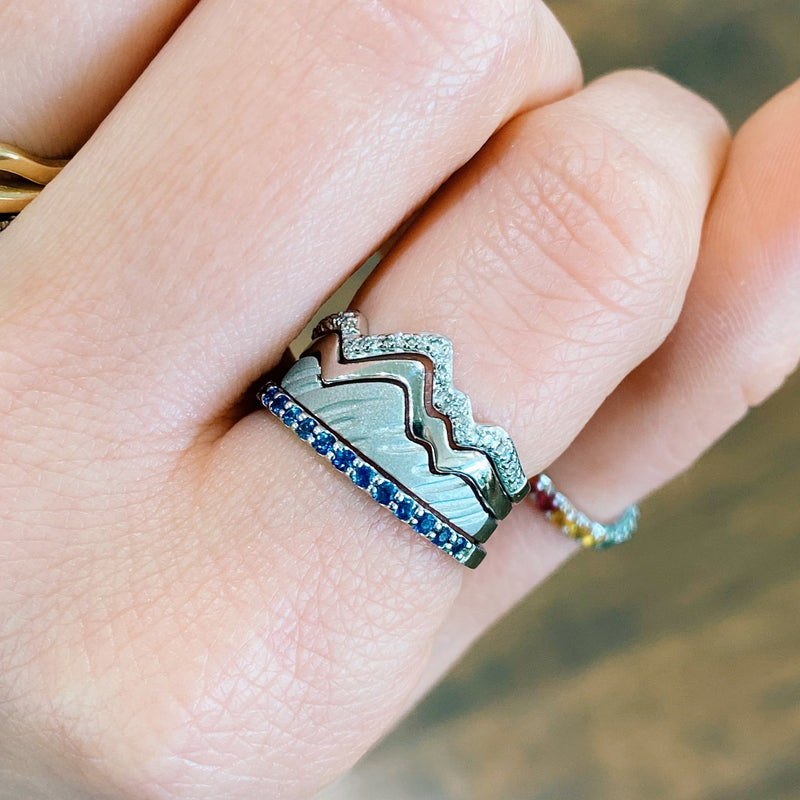Limited Edition 18 Karat White Three Stack Teton Mountain Rings with Sapphire Snake River Band