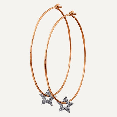 Julez Bryant 14k Rose Gold Hoop Earrings with Star Charms - Jackson Hole Jewelry Company