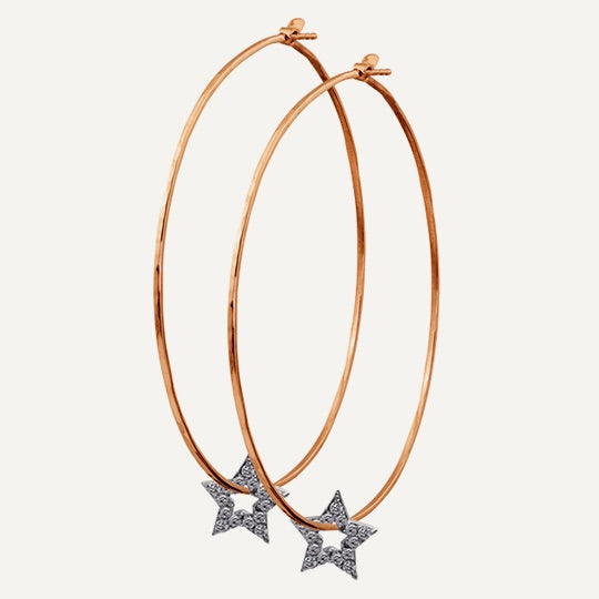 Julez Bryant 14k Rose Gold Hoop Earrings with Star Charms