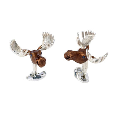 D&F Brown Moose Head Cufflinks in .925 Sterling  Summer Haze - Jackson Hole Jewelry Company