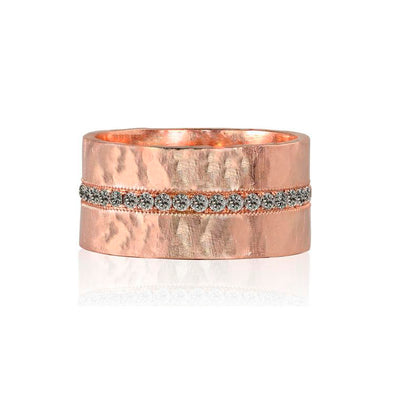 Julez Bryant 14k Rose Gold Rani Ring with Paved White Diamond Center Stripe - Jackson Hole Jewelry Company