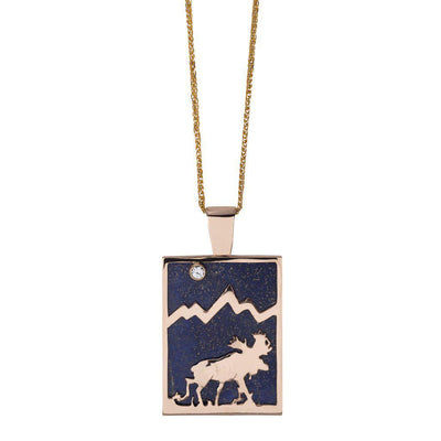 Large 14KY Gold Rectangular Lapis Moose Pendant with Diamond - Jackson Hole Jewelry Company