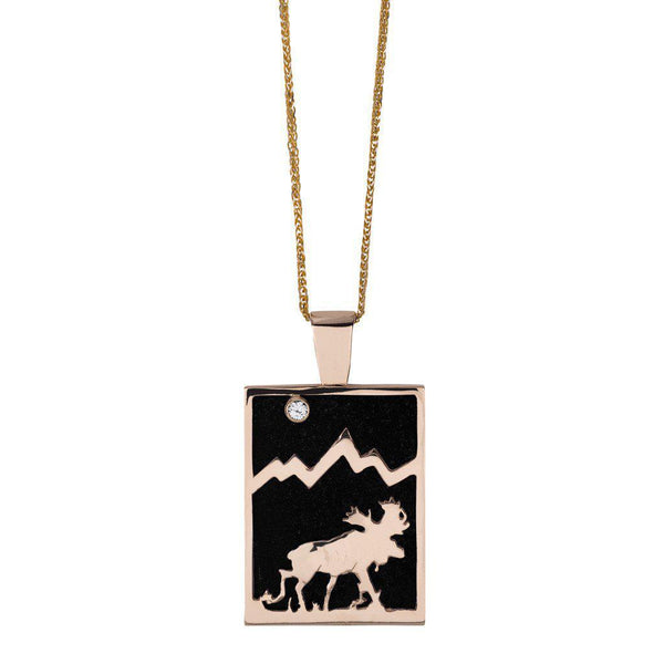 Large 14KY Gold Rectangular Onyx Moose Pendant with Diamond - Jackson Hole Jewelry Company