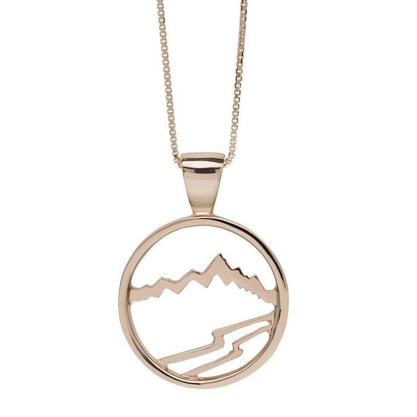 Large 14KY Gold Signature Teton Cutout Pendant with Diamond - Jackson Hole Jewelry Company  - 2