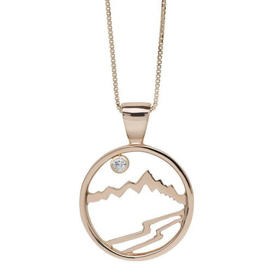 Large 14KY Gold Signature Teton Cutout Pendant with Diamond - Jackson Hole Jewelry Company