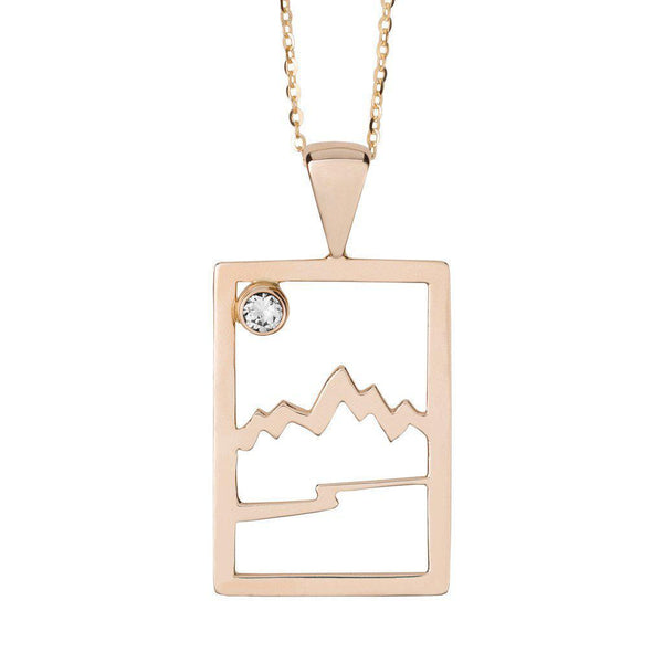 Large 14KY Gold Signature Teton Rectangular Cutout Pendant - Jackson Hole Jewelry Company  - 1