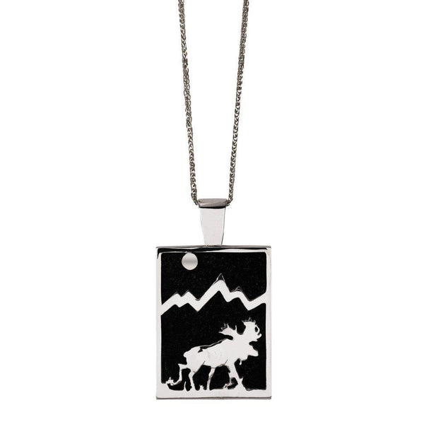 Large Sterling Silver Rectangular Onyx Moose Pendant - Jackson Hole Jewelry Company  - 1