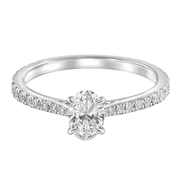 Le PeTeton Oval French Cut Engagement Solitaire Ring Set