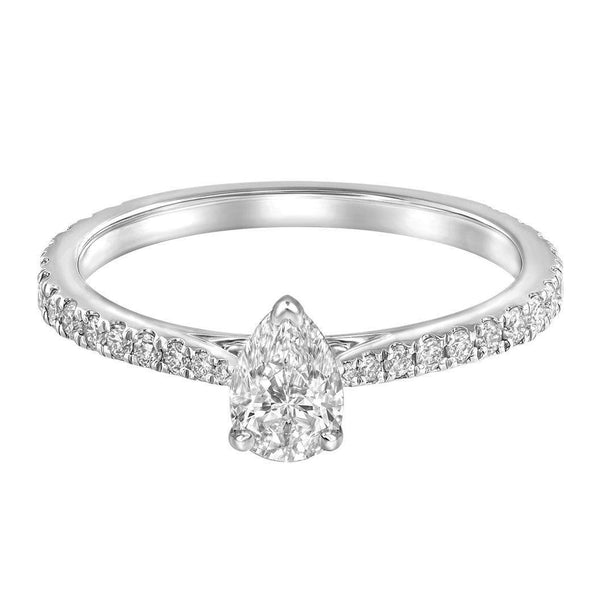 Le PeTeton Pear French Cut Engagement Solitaire Ring Set