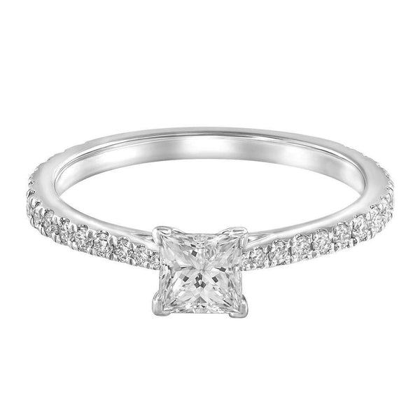 Le PeTeton Princess French Cut Engagement Solitaire Ring Set