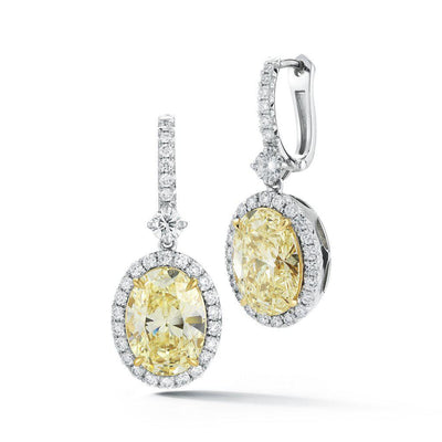 Natural Fancy Light Yellow Oval Drop Earrings - Jackson Hole Jewelry Company