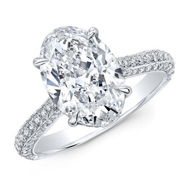 Oval Diamond Micro Pave Engagement Ring