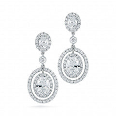 Oval Halo Diamond Dangling Earrings - Jackson Hole Jewelry Company