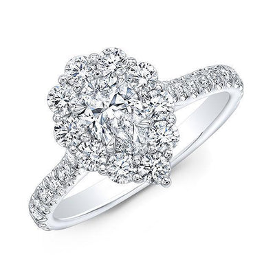 Pear Halo Diamond Engagement Ring - Jackson Hole Jewelry Company