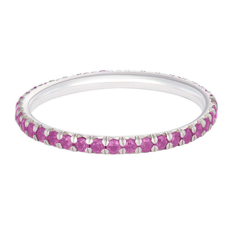 Pink Sapphire French Cut Pavé Eternity Ring