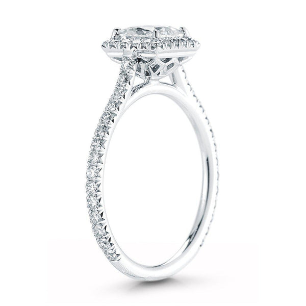 Princess Cut Pave Halo Diamond Ring
