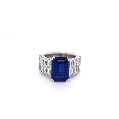 Picchiotti Blue Sapphire and Two Row Diamond Ring - Jackson Hole Jewelry Company