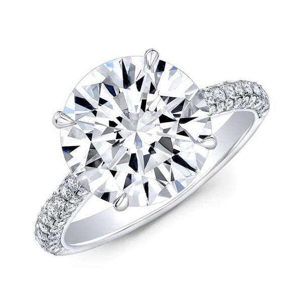 Round Diamond Micro Pave Engagement Ring