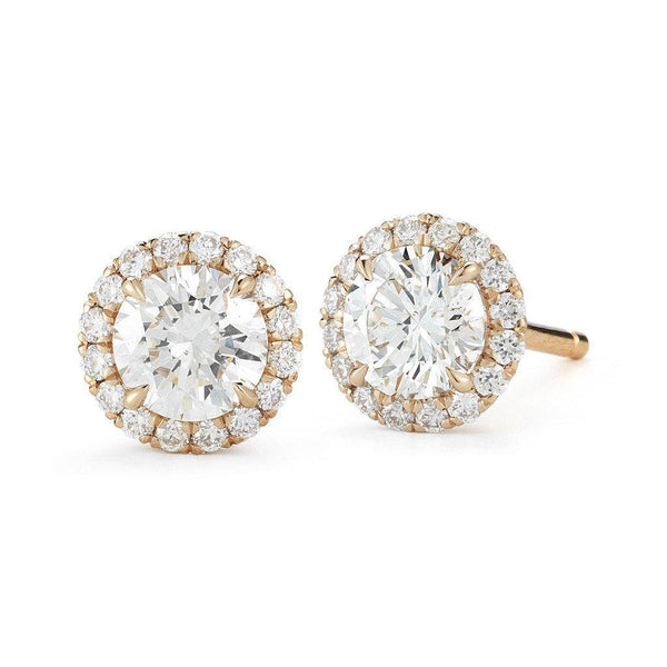 Round Halo Diamond Stud Earrings - Jackson Hole Jewelry Company  - 2