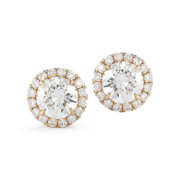 Round Halo Diamond Stud Earrings - Jackson Hole Jewelry Company  - 1